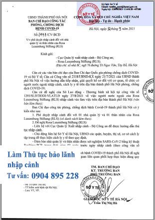 xin công văn chấp thuận của ủy ban nhân dân tỉnh thành phố cho người nước ngoài nhập cảnh